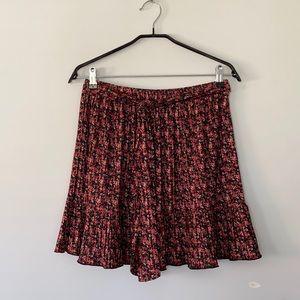 NWOT Zara Pleated Floral Mini Skirt